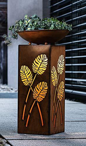 "LED-Säule ""Blätter"", 2tlg. inkl. Schale, 53 cm hoch aus Metall, batteriebetrieben, Dekosäule im Rostdesign, Leuchtdeko"