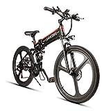 SAMEBIKE Elektrofahrrad Mountainbike, 26 Reifen Elektrisches Faltbares Fahrrad mit 350W Kettenschaltung Shimano 21 Gang, Schwarz
