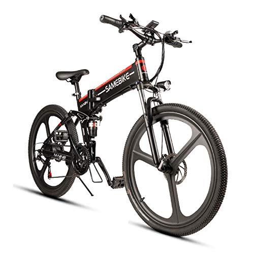 Elektrofahrrad Mountainbike, 26 Reifen Elektrisches Faltbares Fahrrad mit 350W Kettenschaltung Shimano 21 Gang, Schwarz