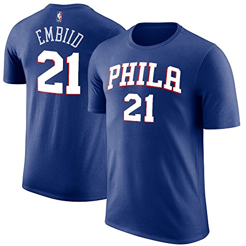 Outerstuff NBA Youth Performance Game Time Team Color Player Name and Number Jersey T-Shirt (Medium 10/12, Joel Embiid)