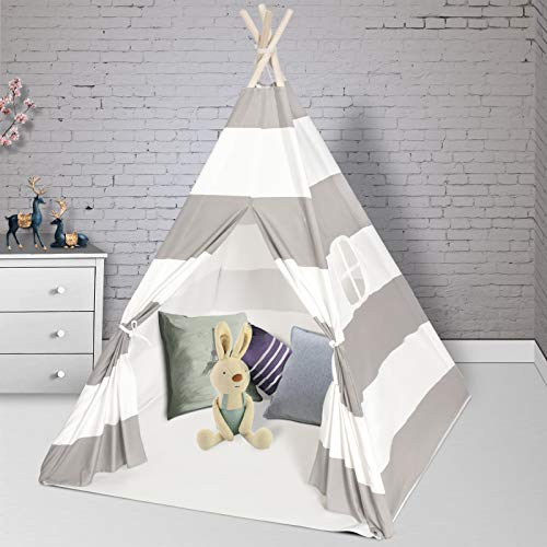 Wilhunter Teepee Play Tent for Kids with Floor Mat & Window & Carry Bag, Foldable Canvas Teepee Gifts for Baby or Toddlers, Toys for Boys and Girls Indoor Outdoor Playhouse (Grey & White Stripe)