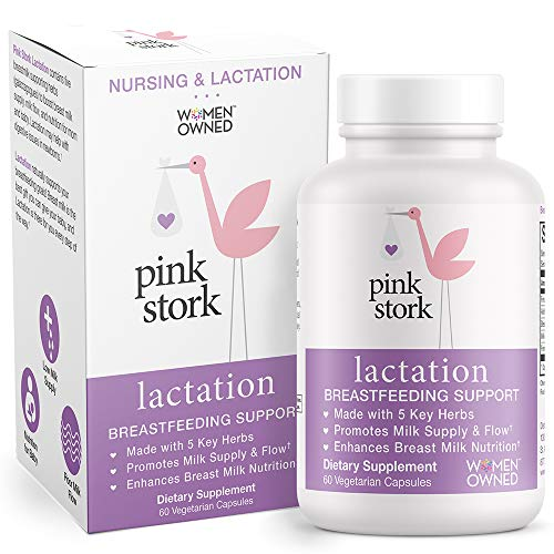 Pink Stork Complete Lactation Supplement: Breastfeeding Support with Fenugreek, Increase & Enhance Milk Supply + Flow, Women-Owned, 60 Capsules
