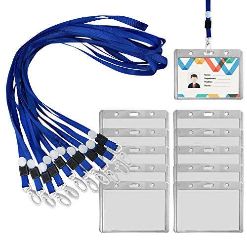 KNEEDARKYEAR 10Pcs Clear Plastic Horizontal or Vertical Name Tags Badge ID Card Holders and 10Pcs Flat Neck Lanyards Sets for Kids and Adults (A2: 8.1x10.6cm, 10Pcs Lanyard + 10Pcs Badge Holders)