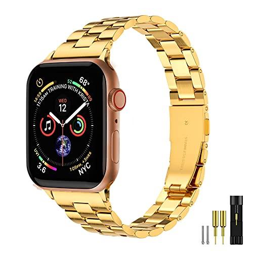 Correa de metal de acero inoxidable delgada para Apple Watch 38/40/42/44 mm, compatible con Apple Watch Series 6/54/3/2/1/SE para mujer (oro, 38/40 mm)