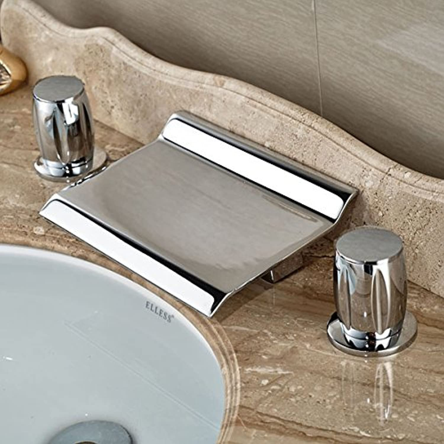 U-Enjoy Brass Widespread Arc-Shaped Top Quality Waterfall Faucet Deck Mount 3 Holes Wash Mixer Taps Two Handle (Style 1)