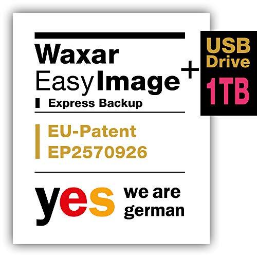 Waxar EasyImage-1000, High-End Backup Software inklusive USB-Festplatte 1TB, läuft automatisch ohne-Installation, kompatibel zu Windows, Mac, Linux, Server-Edition -1 Gerät, deutsch