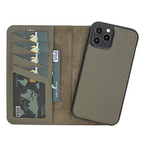Funda para móvil compatible con iPhone 12 (6,1 pulgadas) y iPhone 12 Pro (6,1 pulgadas), piel auténtica, extraíble, con imán y tarjetero, hecha a mano, piel auténtica, 2 en 1 (verde militar)