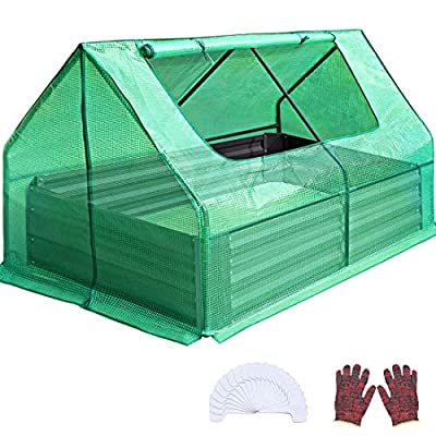 Quictent 49''x37''x36'' Extra-Thick Galvanized Steel Raised Garden Bed Planter Kit Box with Greenhouse 2 Large Zipper Windows Dual Use, 20pcs T-Types Tags & 1 Pair of Gloves Included (Green)