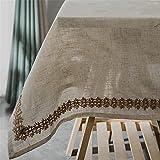 KUATAO Mantel de lino rectangular japonés simple retro mantel de lino simple color sólido cama y desayuno mantel de encaje de 140 x 160 cm