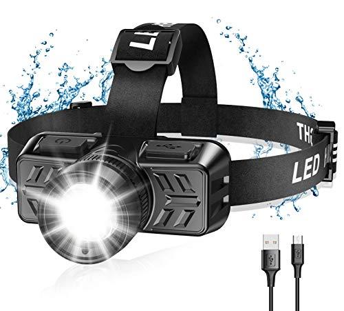 Cocoda Linterna Frontal Led USB Recargable, Zoomable Luz y 4 Modos de Luz de 90° Ajustable Linterna...