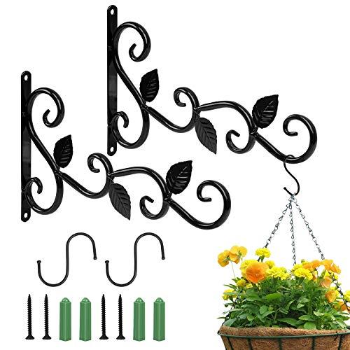 LAMEK Soporte para Plantas Colgantes, 4 Pcs Soportes para Macetas Colgantes Negro Colgadores para Macetas de Pared Ganchos para Plantas Colgantes con Tornillos para Plantas Lámpara Cesta Campanilla