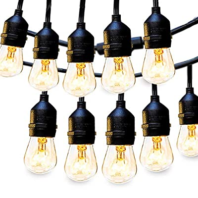 1Pack 48FT Outdoor String Lights Commercial Great Weatherproof Strand - Dimmable Edison Vintage Bulbs 15 Hanging Sockets, UL Listed Heavy-Duty Decorative Patio Café Lights for Bistro Garden