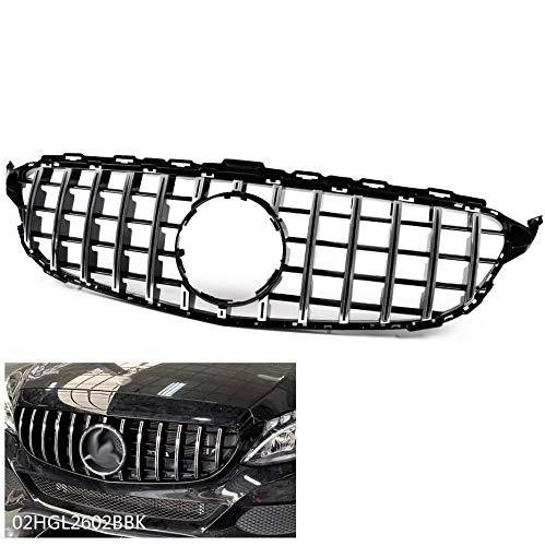 Chrome Black Upper Hood Grill Grilles Compatible For Mercedes Benz C Class C200 C250 C300 C350 W205 2015-2018 AMG GT R Style Front Bumper Grille (Without Camera Hole)