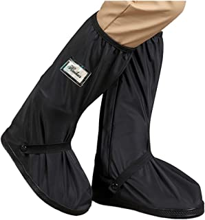 HLKZONE Waterproof Rain Boot Shoes Covers Foldable Reusable Slip Resistant Overshoes with Reflector for Women & Men (Black, XL)