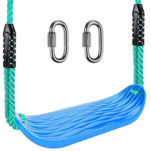 SELEWARE Plastic Swing Seat, Non Slip Tree Swing Set with 8ft Adjustable Rope and 2 Carabiners, Heavy Duty Playground Swing Set Accessories for Kid Indoor Outdoor Backyard, Blue