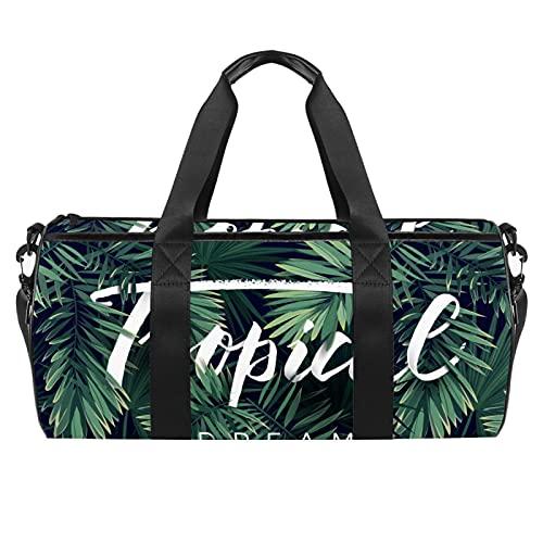 Bolsas de viaje para mujer, diseño de hojas de plantas tropicales para mujer, bolsa de deporte para gimnasio, bolsa de deporte para entrenamiento, bolsa de hombro durante la noche