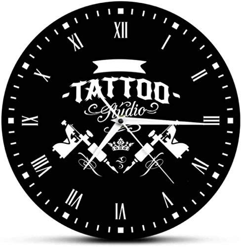 Reloj de Pared de Vinilo Estudio de Tatuajes Máquina de Tatuaje Reloj de Pared Moderno Salón de Tatuajes Decoración de la Tienda Reloj Redondo Negro Reloj Hipster Hombres Tatuador Gift30Cm
