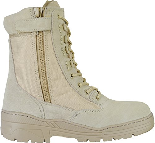 Desert Army Combat Patrol Side Zip Tactical Boots Military Lightweight Suede Leather Tan Jungle,9 UK