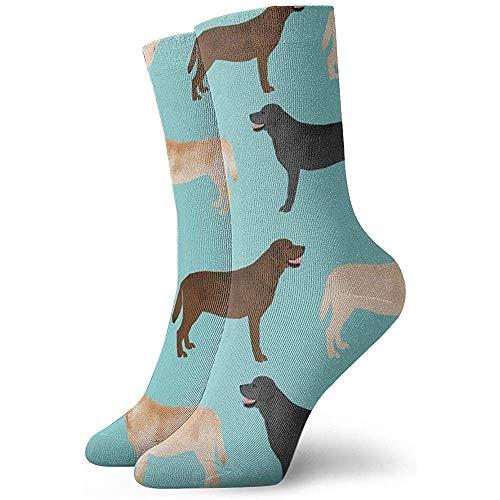 NA Unisex Fun Dress Socks - Kleurrijke Funky Sokken - Schattige Labradors Yellow Chocolate Black Lab Pet Dogs Sokken