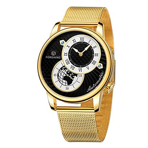 Excellent Relojes de Pulsera para Hombres Relojes mecánicos Luminosa de Acero Inoxidable 3atm 30 Metros Reloj de Pulsera con Correa de Acero Inoxidable, Reloj para Hombres, Regalo para él,A01