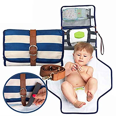Nautical Portable Changing Pad Diaper Clutch - Small Diaper Bag with Complete Baby Changing Station for Busy Moms On The Go | Waterproof Mat, Wipes Holder and Crossbody Shoulder Strap Included