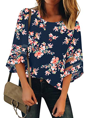 LookbookStore Women's Crewneck Mesh Panel Blouse 3/4 Bell Sleeve Loose Top Shirt Floral Printed Navy Blue Size Small