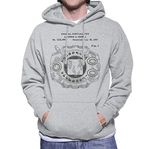 Cloud City 7 Digimon Digital Virtual Pet Patent Men's Hooded Sweatshirt