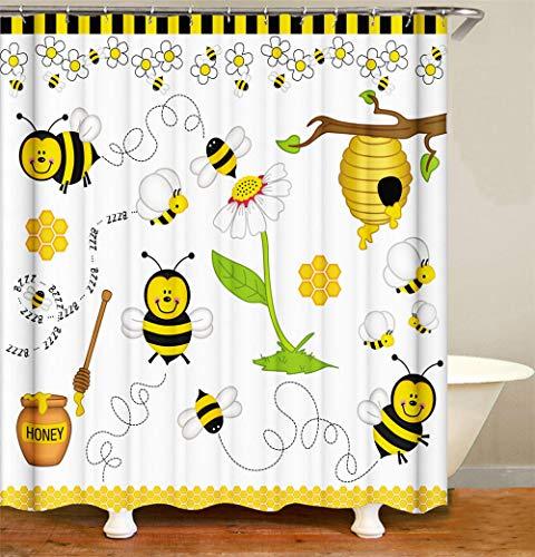 Duschvorhang Polyester Biene Duschvorhang Dusche Anti Schimmel Wasserdichter Mit Verstärktem Saum Mit 12 Haken Schickes Badezimmer-Dekor 240X180 cm