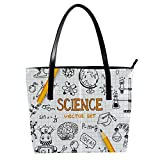 Science Education Doodle Set de Astronomía Bolsos de mujer, cuero suave asa bolsa bolsa bolsa bolsa bolsa de mano para el trabajo viaje bolsa mensajero grande