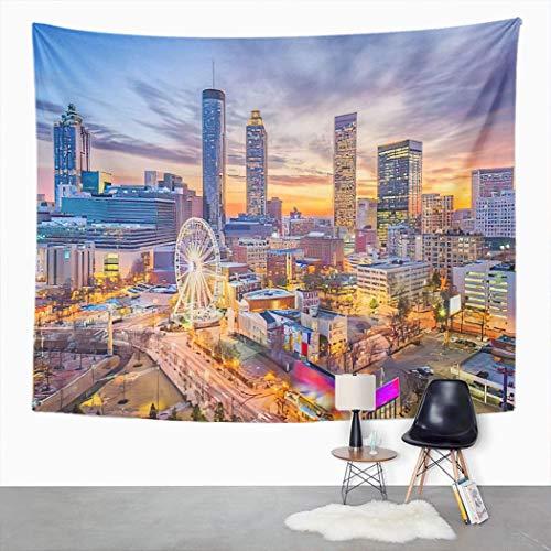 Y·JIANG USA Cityscape Tapestry, Atlanta Georgia USA Downtown Skyline Home Dormitorio decorativo grandes tapices de pared ancha para colgar en la sala de estar, dormitorio, 60 x 50 pulgadas