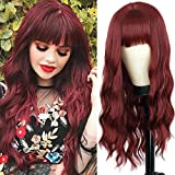 MERISIHAIR Wavy Long Wine Red Wigs for Women,Synthetic Dark Burgundy Long Curly Red Wig with Bangs, Narutal Wavy Curly Red Wigs for Women 24 Inches