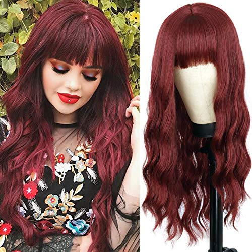 MERISIHAIR Long Wine Red Wigs for Black Women,Synthetic Dark Burgundy Long Wavy Wig with Bangs, Wavy Curly Red Wigs for Women 24 Inches
