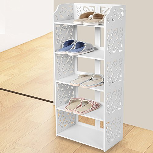 Yosoo Health Gear Placa de plástico de Madera, Estante para Zapatos Blanco de 5 estantes, Organizador de Zapatero pequeño para Armario, Organizador de Almacenamiento de Zapatos