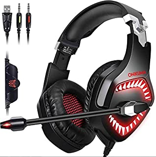 PC Gaming Headphones,Oun itechPS4 Gaming Headset with Microphone ,Over-Ear Gaming Headphones Noise Cancelling 7.1 Surround Sound Soft Earmuffs LED Light for Game Red