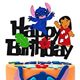 Cartoon Cake Topper for Lilo-Stitch Theme Cake Decorations Children Kids Boy Girl Happy Birthday Glitter Black Party Supplies [Double Sided]
