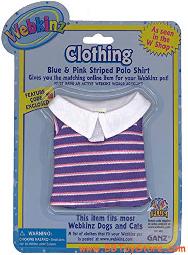 Webkinz Clothes - Blue and Pink Striped Polo