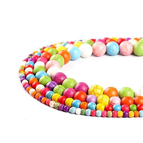 Perles rondes multicolores en pierre naturelle de 4 mm, 6 mm, 8 mm, 10 mm, 12 mm pour la fabrication de bijoux (8 mm)