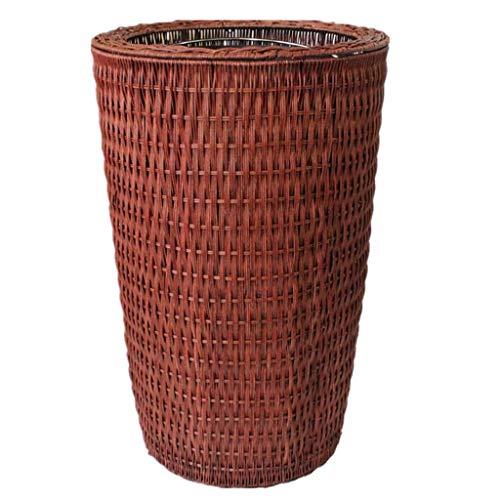 WEWE Rubbish Bin Poubelle Dustbin Bruin Bamboe Rotan Creatieve Thuis Geen Deksel Hotel Plant Rotan Rollsnownow (grootte: 38L)