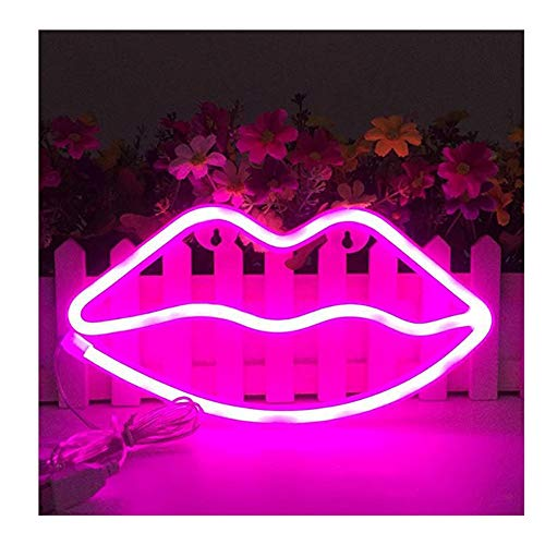 i-Found Neon Light Pink Lip Neon Combinación de neón con pilas/USB Powered Neon Night Light para dormitorio, decoración del hogar, boda, Navidad, cumpleaños, fiesta, bar
