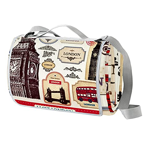 Alfombrilla de picnic al aire libre, manta de picnic impermeable, almohadilla de dormir plegable para acampar, playa, yoga, césped Mat CushionEngland London Symbols