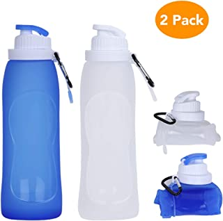 Collapsible Water Bottle,  McoMce Portable Folding Bottle & Water Bottle with Clip for Backpack,  Foldable Water Bottle BPA Free & FDA Approved,  2 Pcs Sport Bottle Water Squeeze Collapble Watterbottles