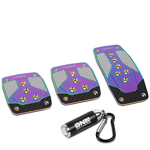 NRG Innovations PDL-400MC Aluminum Manual Transmission MT Foot Pedal Cover Plates + LED Keychain Flashlight