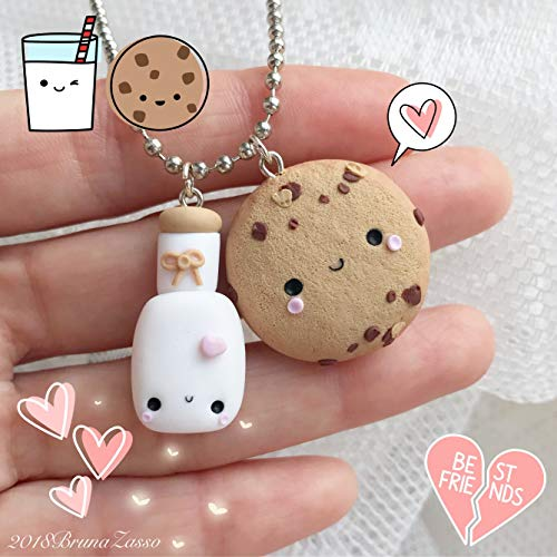 Biscotto e Latte Collana cookie cookies Cute Necklace Fimo Polymer Clay Kawaii Handmade best friends sweet patisserie