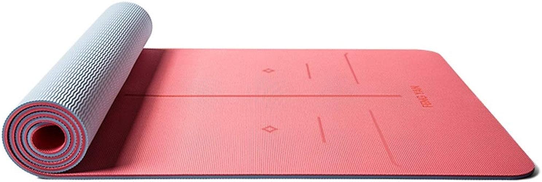 ASJHK Tapis de Yoga TPE Body Line Tapis de Yoga épaississement élargi Long Tapis de Fitness Anti-dérapant Yoga débutant en Trois pièces Tapis de Yoga (Couleur   D, Taille   8mm)