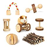 Rocinha Rabbit Toys Guinea Pig Toys Chinchilla Hamster Chews Toys Bunny Bird Exercise Molar Wooden Accessories (Pack of 7)