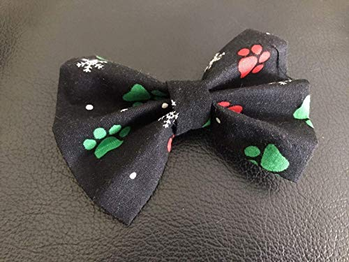"Dog Bow Tie in Black, Red and Green Christmas Paws and Snowflakes for Winter Holiday Pet Fashion - Small 4"" only"
