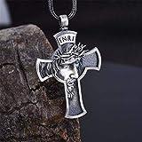 SEKDAQ Colgante de cruz Jesús Collar Hombres Cristo Corona de Espinas Religiosas Hombres Cadena de Cuero