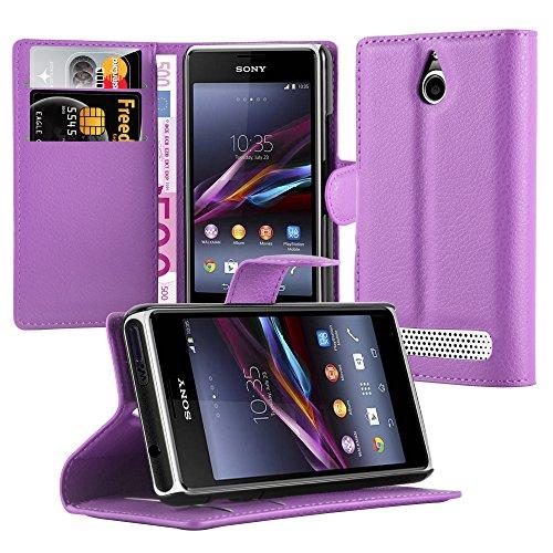 Cadorabo Hülle für Sony Xperia E1 - Hülle in Mangan VIOLETT – Handyhülle mit Kartenfach & Standfunktion - Case Cover Schutzhülle Etui Tasche Book Klapp Style