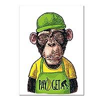 キャンバスにプリント抽象帽子をかぶるモンキーペインティングウォールアート漫画動物ポスター画像キャンバスプリントホームキッズルームの装飾-40x60cmフレームなし