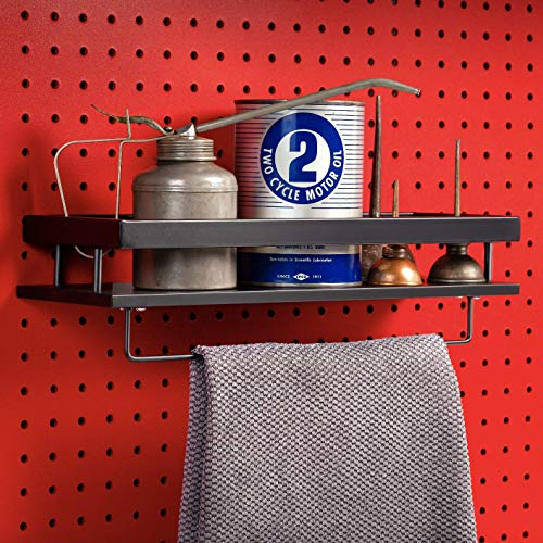 MADD TOOLS DOUBLE D FOR DOUBLE DUTY Pegboard Shelf with Towel Rod Black Pegboard Accessories Full Metal Pegboard Attachments
